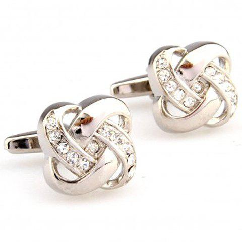 Pair of Stylish Rhinestone Inlay Hollow Out Knot Shape Alloy Cufflinks For Men - WHITE