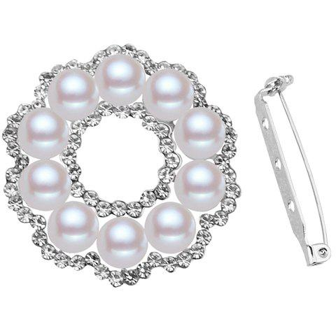 Stylish Faux Pearl Rhinestone Floral Shape Hollow Out Brooch For Women - SILVER