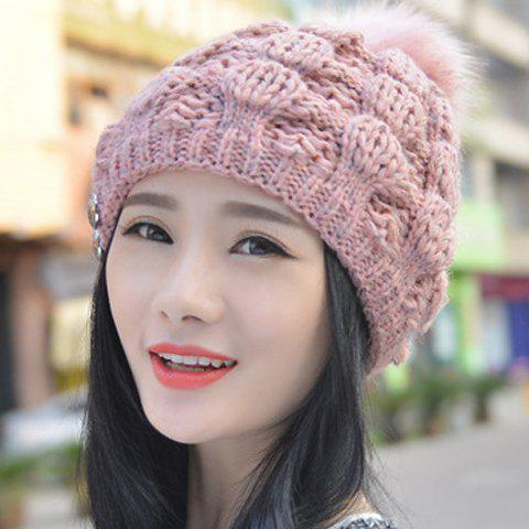 Chic Downy Small Ball and Button Embellished Women's Knitted Beanie - RANDOM COLOR