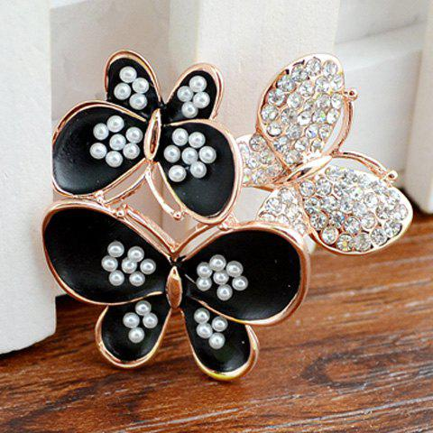 Graceful Faux Pearl Zircon Butterfly Shape Brooch For Women - BLACK