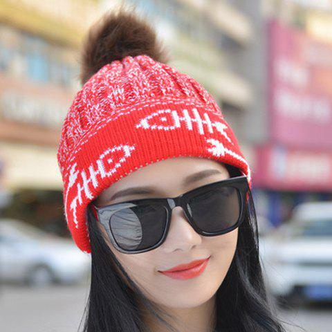 Chic Small Ball Embellished Fish Bone Pattern Brim Women's Knitted Beanie - RED