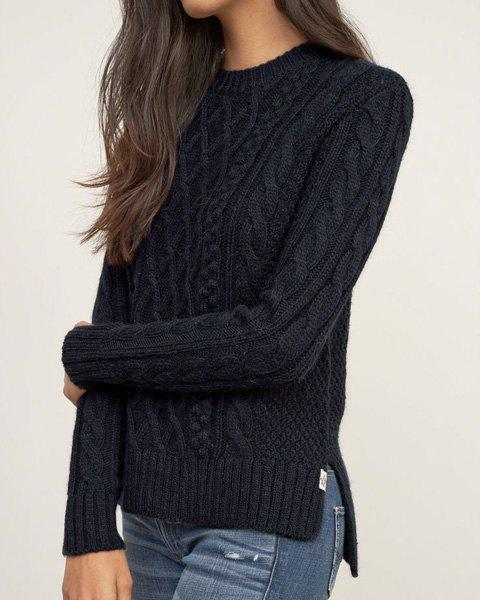 Attractive Solid Color Round Collar Twist Wave Side Slit Pullover Sweater For Women elegant turtleneck twist wave solid color thick pullover sweater for women