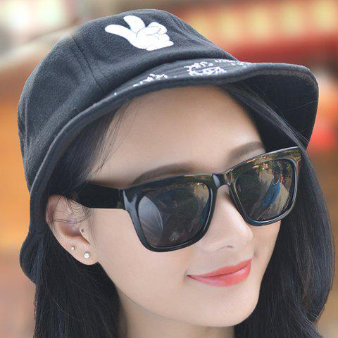 Chic Hand and Letters Pattern Women's Felt Bucket Hat - BLACK