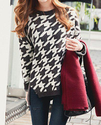 Elegant Round Collar Houndstooth Printed Side Slit Pullover Sweater For Women - DEEP GRAY L