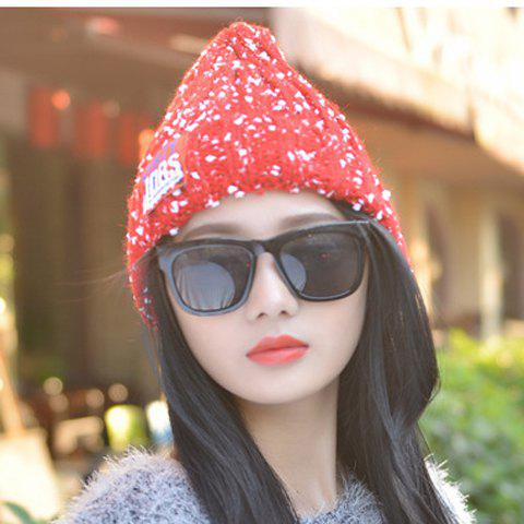 Chic Letter Label and White Tiny Pompon Embellished Women's Knitted Beanie