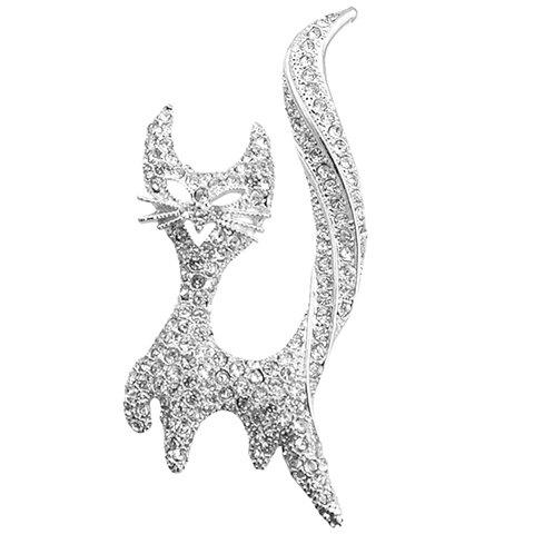 Cute Rhinestoned Solid Color Hollow Out Kitten Shape Brooch For Women - SILVER