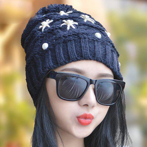 Chic Faux Pearl and Fake Starfish Shape Embellished Women's Knitted Beanie - RANDOM COLOR