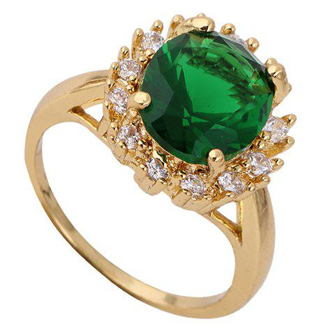 Retro Rhinestone Faux Emerald Round Ring - GREEN ONE-SIZE