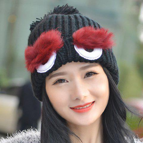 Chic Faux Fur and Cartoon Eyes Shape Embellished Women's Knitted Beanie - BLACK