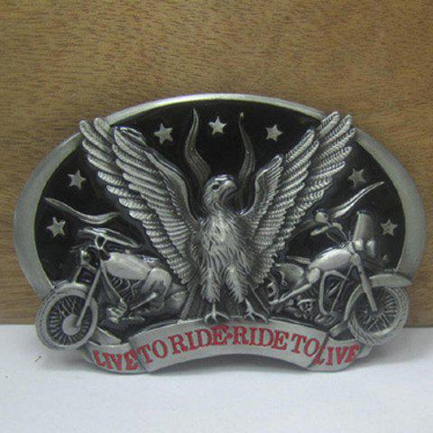 Stylish Motorcycle and Eagle Shape Embellished Metal Belt Buckle For Men - SILVER/BLACK