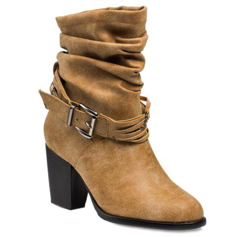 Vintage Buckle Strap and Chunky Heel Design Women's Short Boots - APRICOT 38
