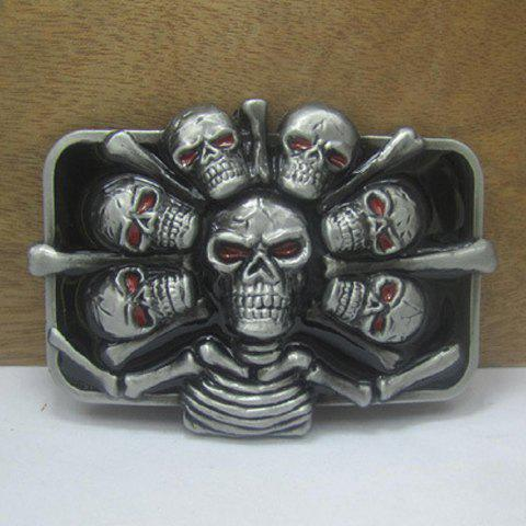 Stylish Bone and Skull Shape Embellished Metal Belt Buckle For Men - SILVER/BLACK
