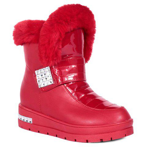 Elegant Rhinestones and PU Leather Design Women's Snow Boots - RED 37