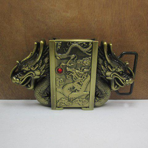 Stylish Cigar Lighter and Dragons Shape Embellished Metal Belt Buckle For Men - COPPER COLOR