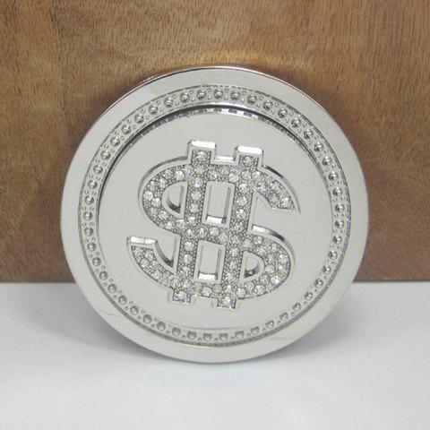 Stylish Rhinestone Inlay Dollar Sign Round Shape Men's Belt Buckle - AS THE PICTURE