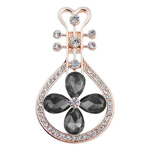 Elegant Faux Crystal Rhinestone Lute Shape Brooch For Women - BLACK