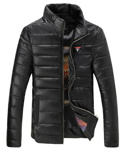Stand Collar Long Sleeve Printed Lining Applique PU-Leather Men's Cotton-Padded Jacket - BLACK L