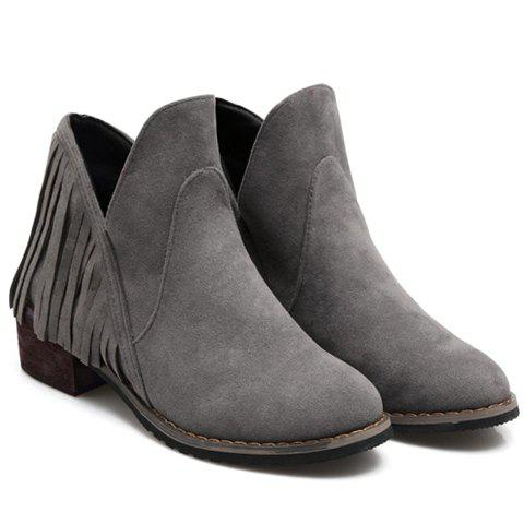 Stylish Round Toe and Solid Color Design Ankle Boots For Women - GRAY 35