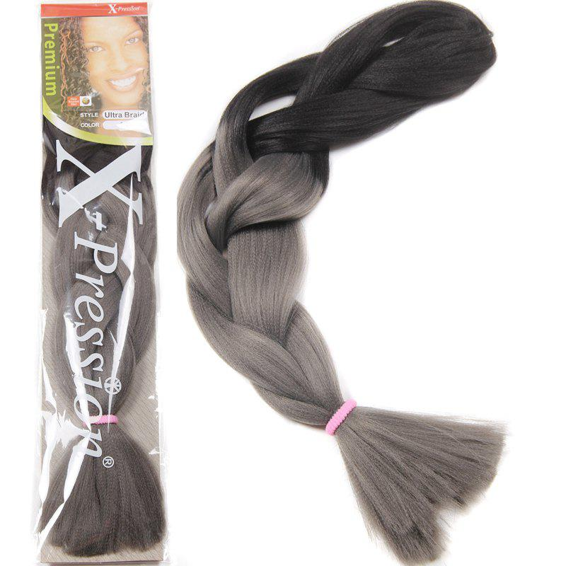 Charming Long Trendy Black Gray Ombre Heat Resistant Fiber Women's Braided Hair Extension - OMBRE