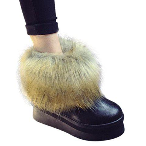 Fashionable Faux Fur and Slip-On Design Snow Boots For Women - BLACK 37