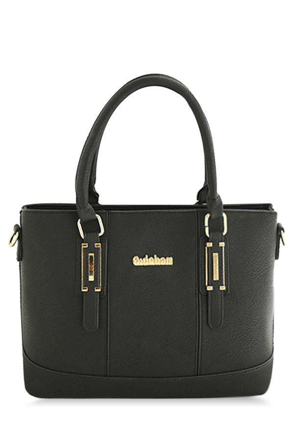 Concise Metal and Letter Design Women's Tote Bag - BLACK
