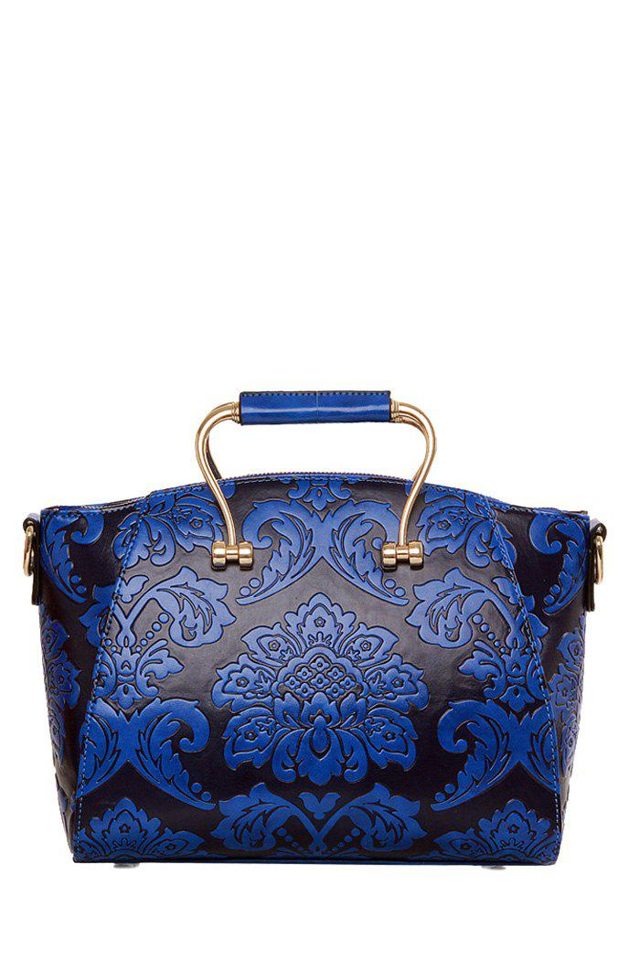 Elegant Floral and Metal Design Women's Tote Bag - DEEP BLUE