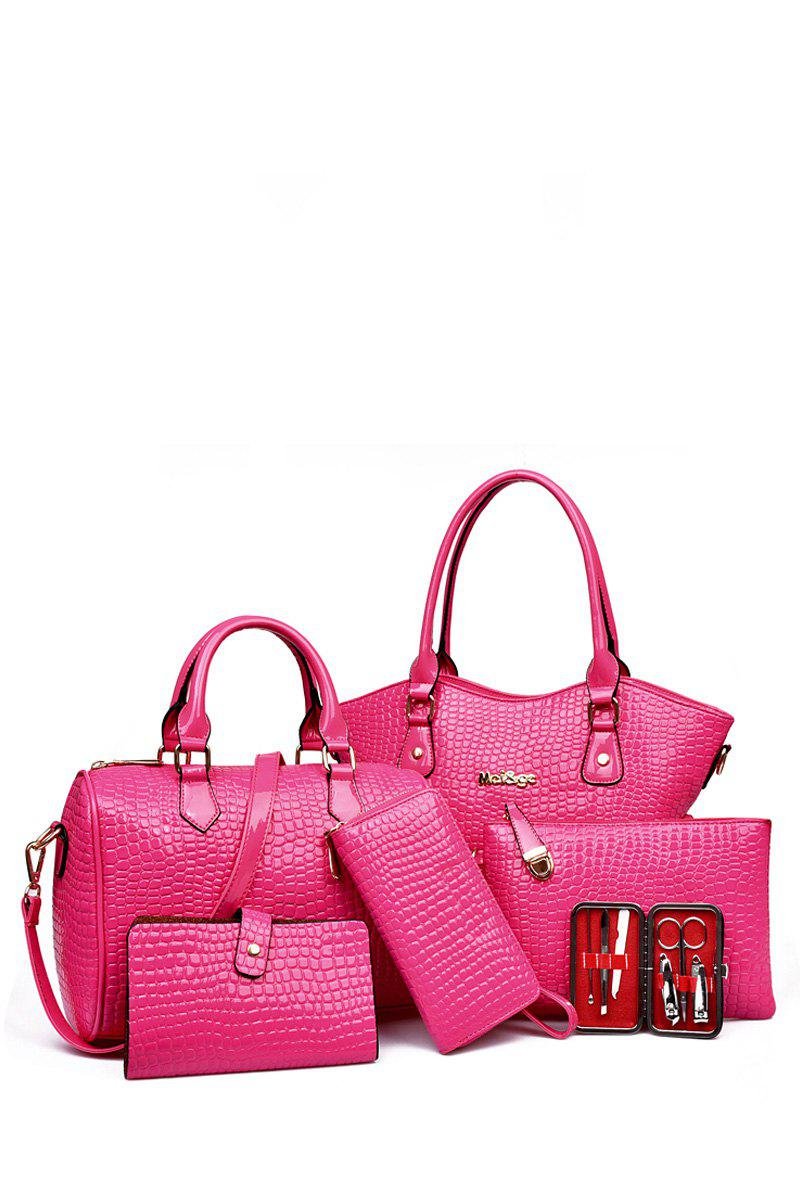 Trendy Stone Pattern and Solid Color Design Women's Tote Bag - ROSE