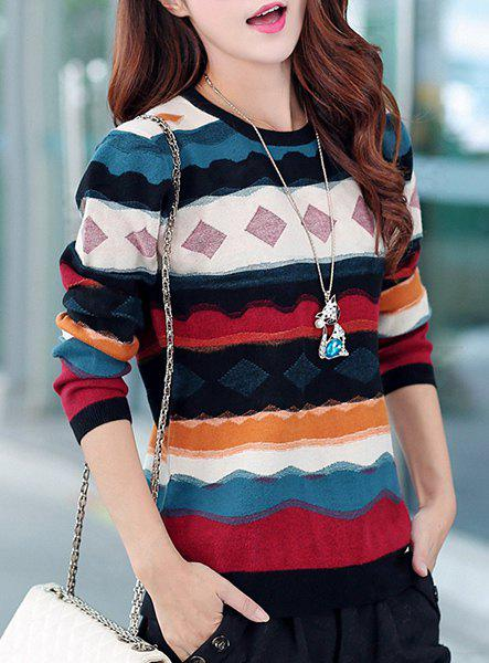 Long Sleeve Hit Color Striped Scoop Neck Pullover Sweater For Women - RED L
