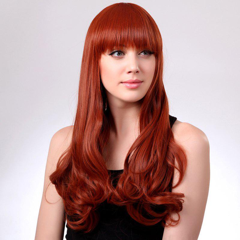 Shaggy Wavy Heat Resistant Fiber Charming Long Vogue Full Bang Women's Capless Wig - JACINTH
