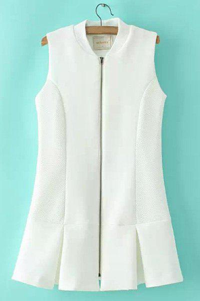 Endearing Stand Collar Solid Color Sleeveless Zippered Flounce Dress For Women - WHITE L