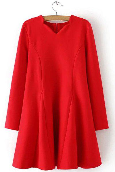 Attractive Solid Color V-Neck Long Sleeve Ruffles Wool Dress For Women - RED L