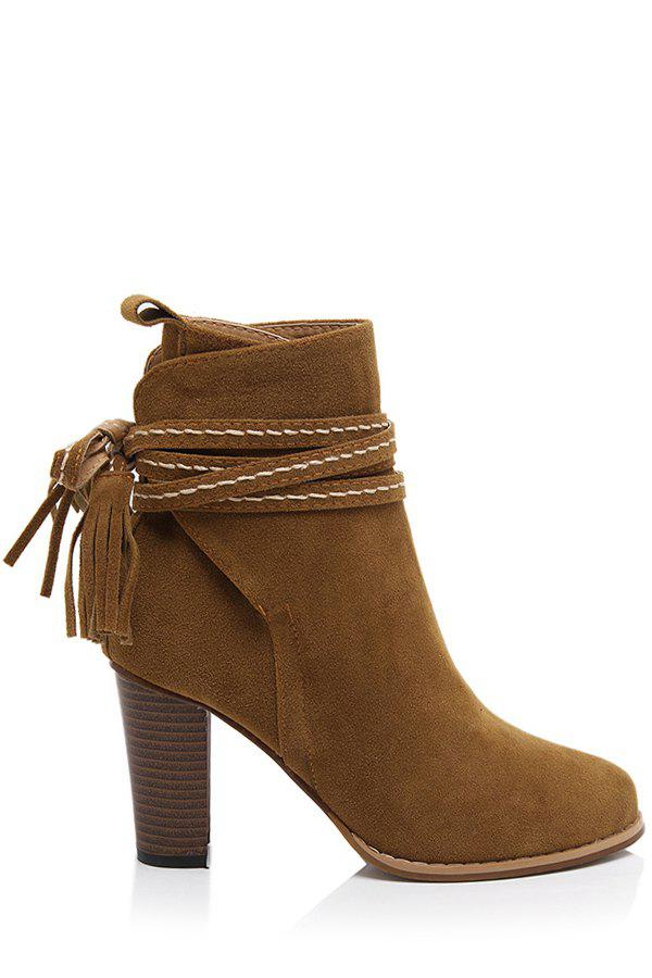 Trendy Tassel and Chunky Heel Design Women's Short Boots - BROWN 37