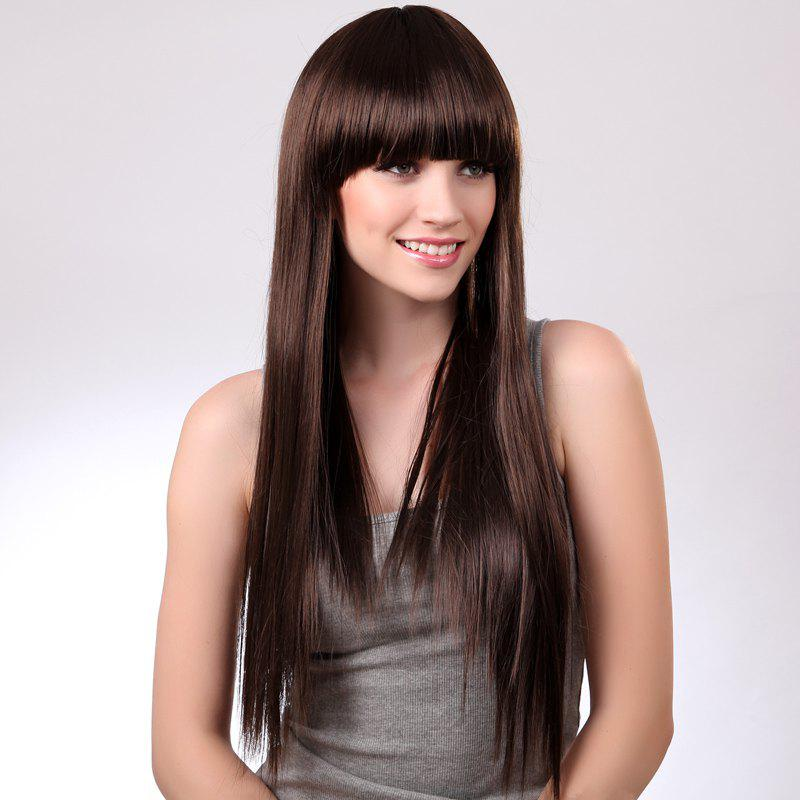 Elegant Long Synthetic Fashion Glossy Straight Full Bang Deep Brown Women's Capless Wig - DEEP BROWN