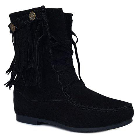 Charming Lace-Up and Fringe Design Women's Short Boots - BLACK 38
