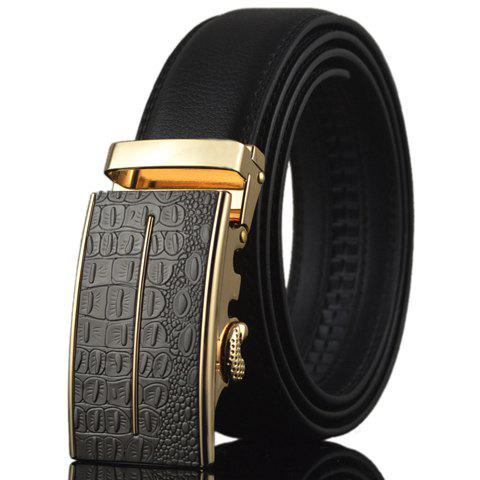 Stylish Crocodile Skin Shape and Bar Embellished Auto Buckle Men's Belt - BLACK
