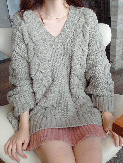 Long Sleeve Loose Solid Color V-Neck Pullover Sweater For Women - PEA GREEN ONE SIZE(FIT SIZE XS TO M)