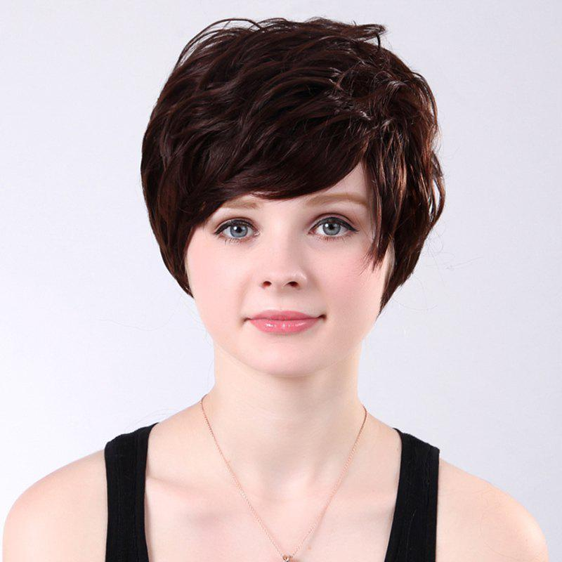 Elegant Short Side Bang Synthetic Vogue Maroon Bouffant Curly Capless Wig For Women - BROWN