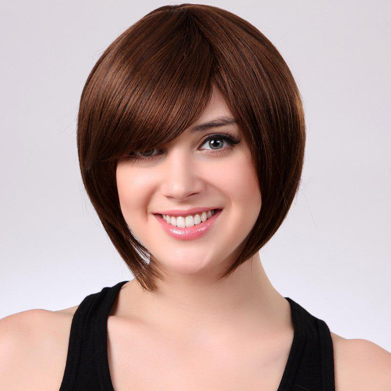 Bob Style Light Brown Attractive Short Side Bang Synthetic Fashion Straight Women's Wig - LIGHT BROWN