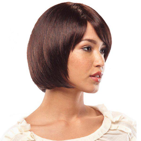 Trendy Short Bob Style Synthetic Stunning Straight Brown Mixed Capless Wig For Women - COLORMIX