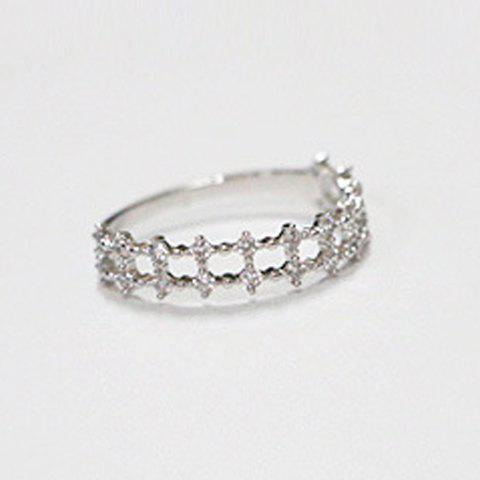 Trendy Rhinestoned Pure Color Hollow Out Ring For Women - WHITE GOLDEN ONE-SIZE