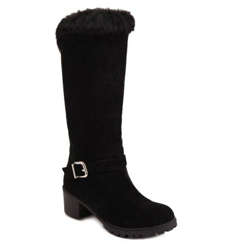 Casual Buckle Strap and Slip-On Design Mid-Calf Boots For Women - BLACK 39