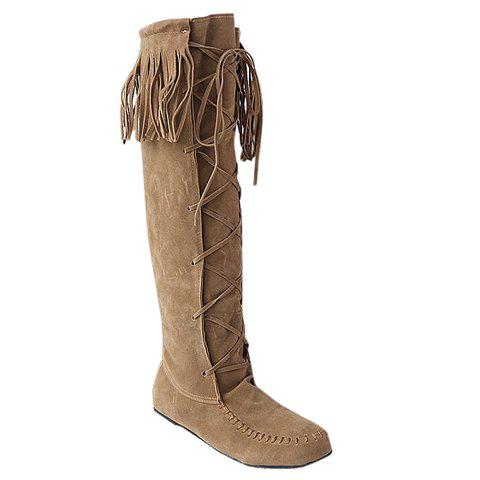 Charming Fringe and Suede Design Knee-High Boots For Women - LIGHT BROWN 34