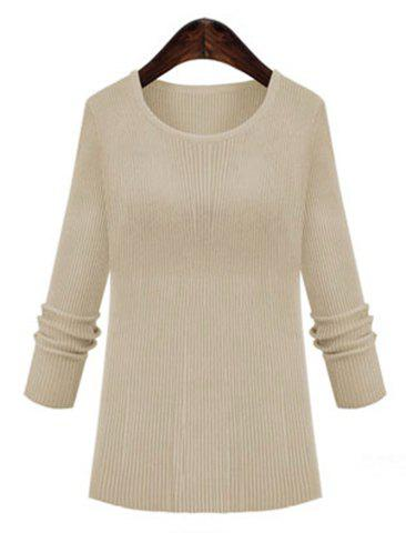 Simple Long Sleeve Round Collar Solid Color Women's Slimming Knitwear - OFF WHITE ONE SIZE(FIT SIZE XS TO M)