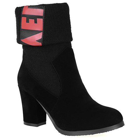 Stylish Colour Block and Splicing Design Women's Short Boots - BLACK 36