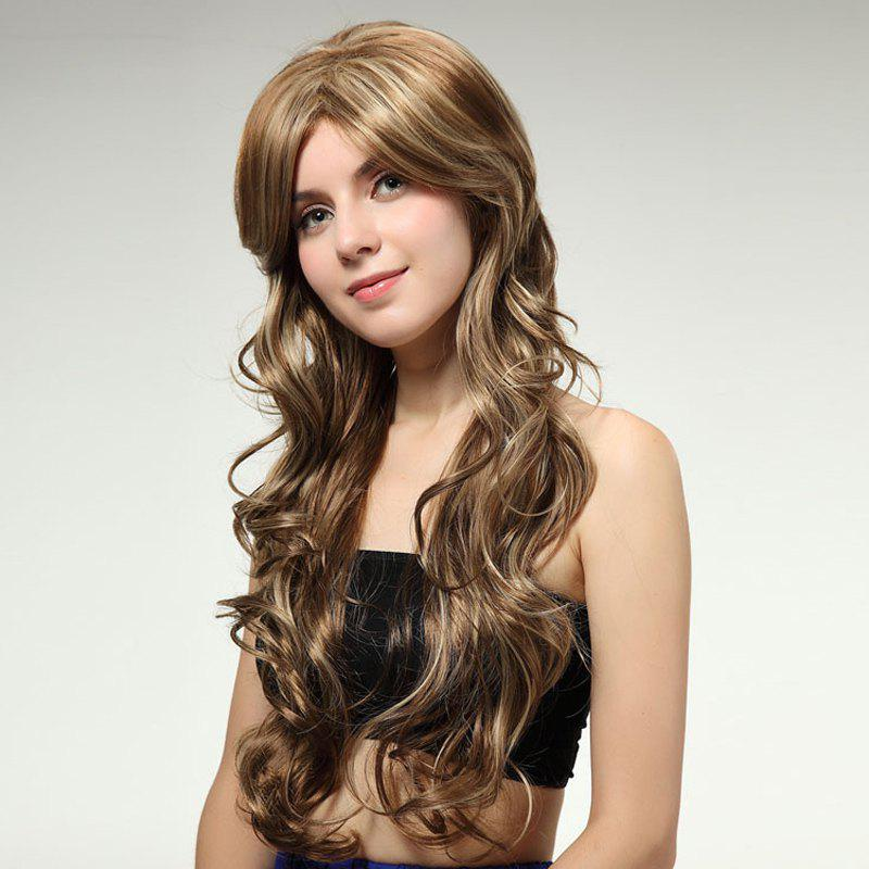 Towheaded Curly Side Bang Synthetic Charming Brown Mixed Blonde Extra Long Wig For Women