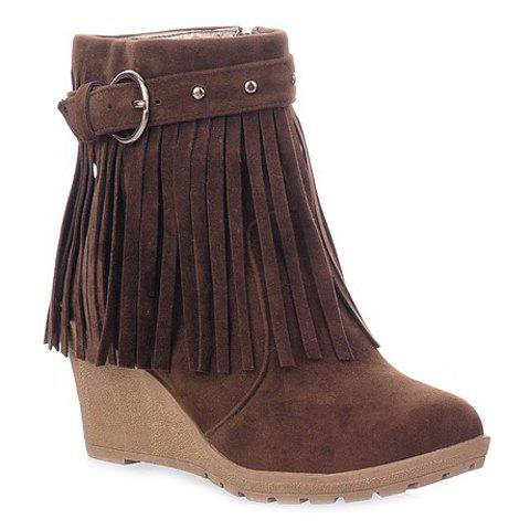 Elegant Wedge and Fringe Design Short Boots For Women - BROWN 38