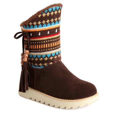Ethnic Style Beading and Splicing Design Snow Boots For Women - DEEP BROWN 38
