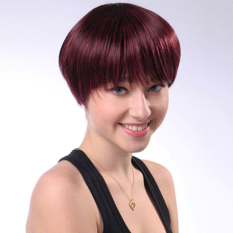 Attractive Short Full Bang Vogue Heat Resistant Synthetic Claret Straight Women's Capless Wig - WINE RED