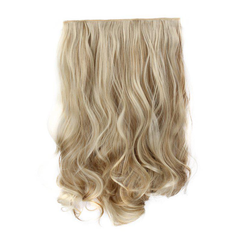 Fashion Long Synthetic Charming Shaggy Wavy Clip-In Assorted Color Women's Hair Extension - KHAKI F 3/