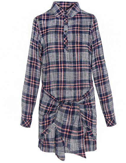 Vintage Checked Shirt Collar Self-Tie Long Sleeve Dress For Women - COLORMIX M